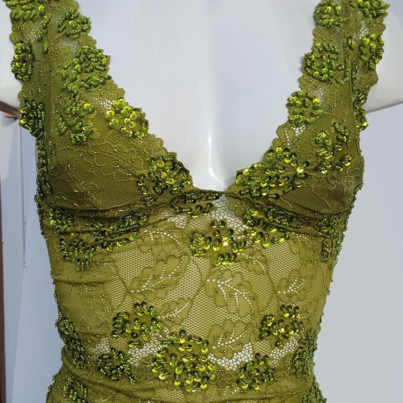 286e58cba4faf9 Crown Jewels Tops | Olive Green Hand Decorated Stretch Lace Blouse ...